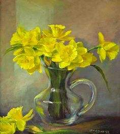 oil paintings | Oil painting Yellow Daphodile in Glass Pitcher