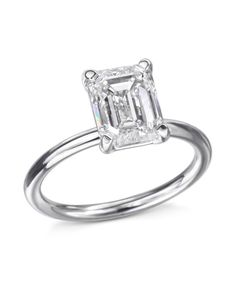 Handmade platinum solitaire ring set with a emerald-cut diamond center CTW, H-color, clarity). Diamond Solitaire Rings, Diamond Engagement Rings, Emerald Cut Diamonds, Diamond Cuts, Glass Of Champagne, Perfect Engagement Ring, Gia Certified Diamonds, Wedding Bands, Jewels
