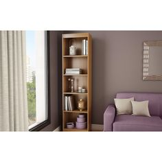 Modern Narrow Bookcase with 5-Shelves in Morgan Cherry Finish
