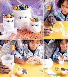 mummy candy holder halloween crafts DIY kids crafts by stephanietodd