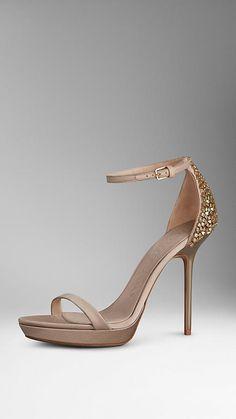 Burberry Embellished Detail Satin Platform Sandals