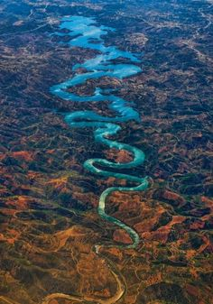 "Odeleite River (a. ""The Blue Dragon River""), Algarve, Castro Marim, Portugal. ""The river is also known as 'The Blue Dragon River' because of its dark blue color and curvy shape. Amazing Places On Earth, Places Around The World, The Places Youll Go, Places To See, Around The Worlds, Amazing Things, Beautiful World, Beautiful Places, Wonderful Places"