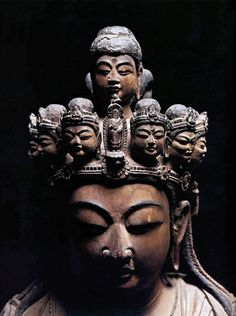 Eleven-Headed Kannon Ekadashamukha) : Nanbokuchô period 1336–1392 The eleven-headed form of the bodhisattva Kannon was one of the first deities of Esoteric Buddhism to be worshiped in Japan. Ten of his heads are in the form of bodhisattvas. The eleventh, the topmost, is that of Amida (Sanskrit: Amitâbha), the Buddha of which Kannon is considered an emanation. The eleven heads symbolize Kannon's ability to see suffering in all corners of the universe and respond with compassion to those in…