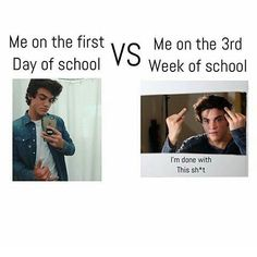 The second picture is me on the second day of school