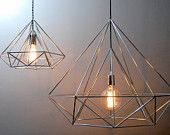 Himmeli Light Diamond Pendant Cage Edison Style Geometric Silver Lamp Chandelier Original Himmeli Art Panselinos