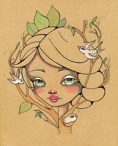 Birds Bordsong Fairy Nature Earth Original ink and watercolor Pop Surreal Illustration 8x10