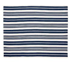 Runner for in front of washer and dryer Oxford Stripe Indoor/Outdoor Rug - Blue #potterybarn