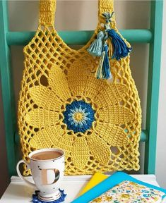 Tuto crochet- easy hook woven bag and 🛍️ Purses and Bags Crochet Market Bag, Crochet Tote, Crochet Handbags, Crochet Purses, Crochet Hooks, Free Crochet, Knit Crochet, Crochet Diagram, Boho Crochet