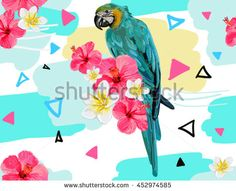 Beautiful seamless vector floral tropical pattern background with exotic bird parrot, hibiscus. Abstract geometric texture