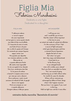 Figlia mia - poesia tratta dalla raccolta di poesie Barattolo di nuvole di Federica Marchesini My daughter - poem from the collection of poems Jar of clouds by Federica Marchesini