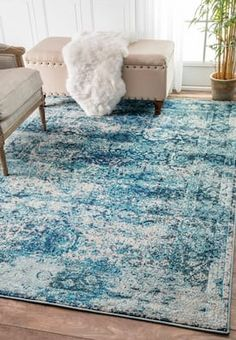 Rugs USA Ocean Blue Chroma Color Washed Floral Rug: Give your home a fancy interior decorator look with this machine made rug. Made out of polypropylene Decor, Blue Rug, Rugs, Nuloom, Blue Ocean, Rugs In Living Room, Home Decor, Rugs Usa, Coastal Rugs