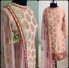 Peach punjabi suit  Fabric : Chanderi  Dupatta : Net  Bottom : Shantoon  Handwork and mirror work  Unstich suit, unstich bottom Making time : 7 to 10 dayz . . Available for just 3990 INR  Book the look @ WhatsApp : +91 9054562754 ❤️ Cash On Delivery In India +  Ship to worldwide