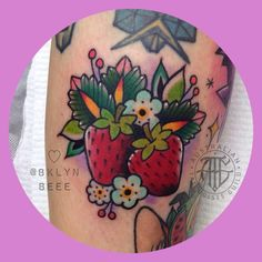 ✨Some sweet strawbs, also made for the lovely @missaliceaddams ☺️✨ Thankyou so much for letting me make some rad tattoos for you! ✨ . . . #brisbanetattoo #strawberries #colourtattoo #brisbane #cute #cutetattoo #australiantattooistsguild...