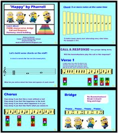 """Music with Mrs. Dennis: Minions Invade the Music Room!!! - boomwhacker chords for Pharell's """"Happy"""""""