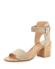 GIANVITO ROSSI Suede Cork-Heel City Sandal, Mustard. #gianvitorossi #shoes #sandals
