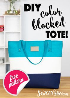 This tote bag has plenty of room to carry anything you need. Learn how to make your own color block tote with this free sewing pattern and tutorial! Sewing Hacks, Sewing Tutorials, Sewing Tips, Sewing Ideas, Sewing Patterns Free, Free Sewing, Easy Tote Bag Pattern Free, Pattern Sewing, Tote Tutorial