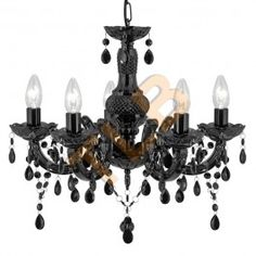 Searchlight Marie Therese Black 5 Light Chandelier With Acrylic Drops from Dushka Ltd, London, UK. Ceiling Lamp, Glass Chandelier, Candle Styling, Candle Style Chandelier, Ceiling Lights, Chandelier Lighting, Black Chandelier, Glass Ceiling Pendant, Black Glass