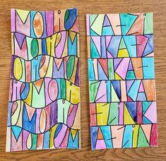 Warm & Cool Abstract Name Designs Name Art Projects, Classroom Art Projects, School Art Projects, Art Classroom, Name Design Art, 4th Grade Art, Art Curriculum, Kindergarten Art, Middle School Art
