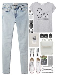 """""""Cause I'm gonna be free and I'm gonna be fine"""" by annaclaraalvez ❤ liked on Polyvore featuring Acne Studios, MANGO, Converse, Case-Mate, Cover FX, Christian Dior, NLY Accessories, PyroPet and Byredo"""