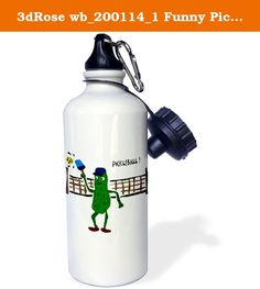 3dRose wb_200114_1 Funny Pickleball Pickle Playing Pickleball Sports Water Bottle, 21 oz, White. Funny Pickle ball Pickle Playing Pickle ball Water Bottle is an eco-friendly way to carry your favorite drink to school, work or anywhere you go. This 20 oz aluminum sports bottle features 2 caps, 1 easy-flow twist on drinking spout and 1 standard twist on cap. Another great feature is the included carabiner clip that allows you to attach your bottle securely. Custom printed high gloss image...