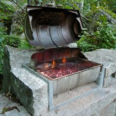 Beer Keg becomes grill - Winkelman Architecture Outdoor Fire, Outdoor Living, Outdoor Decor, Barris, Residential Architect, Grill Design, Beer Garden, Back Gardens, Bbq Grill