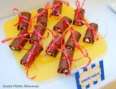 Easy diploma snack from Sweet Metel Moments   Little Debbie tied with a ribbon !   (Brody's Preschool Graduation Party and Free Printable)