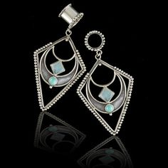 Moon Silver Flesh Tunnel Earrings With Stones