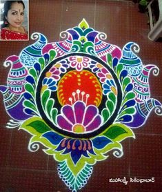 Easy Rangoli Designs Diwali, Best Rangoli Design, Rangoli Designs Latest, Rangoli Ideas, Rangoli Designs Images, Rangoli Designs With Dots, Beautiful Rangoli Designs, Simple Rangoli, Mehandi Designs