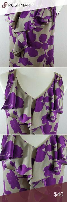 Ann Taylor Loft Women's Purple Ruffled Top Ann Taylor Loft Women's Purple Ruffled Career Top Blouse Size S Ties in Back LOFT Tops
