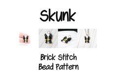 Skunk  Seed Bead Pattern Brick Stitch Weaving Cute by BeadCrumbs