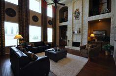 Stone #fireplace, Floor to ceiling stone   Brighton Homes®   www.Brightonhomes.com