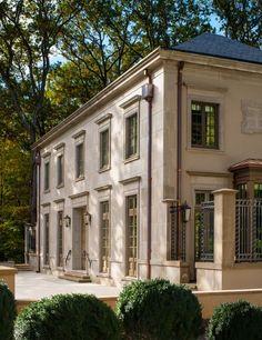 classic limestone new construction  copper gutters custom home top washington architect