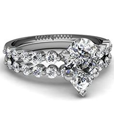 Shimmering Floating Diamond 0.90 Ct Pear Shaped Engagement Bridal Rings Set SI2 14K White Gold Ring Size-5  http://electmejewellery.com/jewelry/wedding-anniversary/bridal-sets/shimmering-floating-diamond-090-ct-pear-shaped-engagement-bridal-rings-set-si2-14k-white-gold-ring-size5-com/