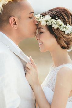 A kiss on the forehead | Vernon and Jayne's Boho-Inspired Engagement Shoot