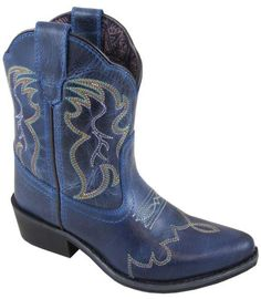 96fe5b782 Smoky Mountain Boots Children Unisex Juniper Blue Leather Stitch Style  3634CY