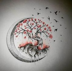 Tree Tattoo – Moon tree of life - Tree Tattoo – Moon tree of life - Tree Tattoo Designs, Tattoo Design Drawings, Tattoo Sketches, Drawing Sketches, Pencil Drawings, Tattoo Ideas, 42 Tattoo, Tattoo Mond, Hand Tattoo