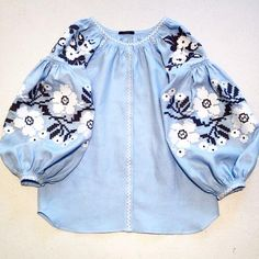 Light blue, Vita Kin style BABY GIRL Vyshyvanka blue black embroidery blouse 12 months to 3 years Boho Tops, Bohemian Blouses, White Embroidery, Vintage Embroidery, Cutwork Saree, Estilo Hippy, Casual Outfits, Fashion Outfits, Embroidered Clothes