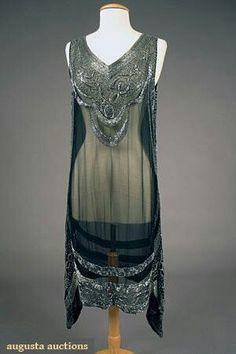Silver On Black Beaded Flapper Dress 1920's #GreatGatsby #hiddenobject #TheGreatGatsby #OysterWorld