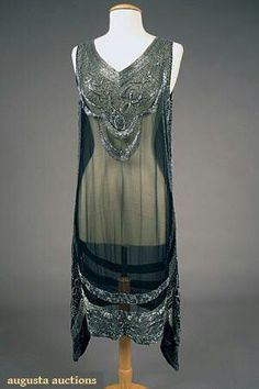 Silver On Black Beaded Flapper Dress 1920's