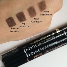 L'Oreal Brow Stylist Definer in Brunette, NYX Micro Brow Pencil in Espresso and Ash Brown, and Anastasia Beverly Hills Brow Wiz in Soft Brown. Nyx Micro Brow Pencil, Drugstore Eyebrow, Anastasia Brow Wiz, Anastasia Beverly Hills Brow, Makeup Swatches, Makeup Dupes, Brown Eye Makeup Tutorial, Beauty Makeup, Sephora Makeup
