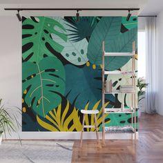 Tropical Jungle Leaves Wall Mural by City Art - X Ceiling Painting, Diy Wall Painting, Mural Painting, Bathroom Mural, Bedroom Murals, Garden Mural, Mural Wall Art, Painted Leaves, Plant Wall