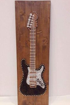 guitar painting by string art