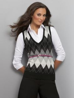 Womens Clothes: Womens Argyle Sweater Vests: Short-Sleeve Sweaters ...