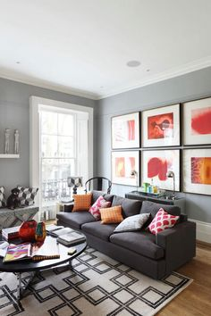 Neutral grey wall with warm colors in small details