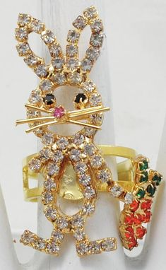 Easter Bunny Ring/Rhinestone/Gold/Orange Carrot/Easter Jewelry/Gift For Her/Adjustable/Under 20 USDr