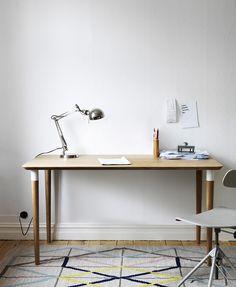 Ikea PS 2014 rug, Hilver desk and desk lamp Ikea Ps 2014, Ikea Inspiration, Workspace Inspiration, Ikea Table, Ikea Desk, Table Desk, Office Table, Home Office Design, Chairs