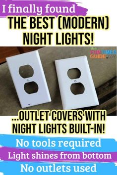 I finally found the best (modern) night lights ever! You can simply replace a regular wall outlet cover with an LED night light outlet cover... using just a screwdriver. I did! No more plug-in night lights -- so all my outlet plugs are still free for other things! Here are 3 things to know before you get an outlet cover night light. #lighting #nightlight #sleeping #houseguests #baby Things To Know, 3 Things, Best Night Light, Smart Home Design, Unique Gadgets, Light Building, Wall Outlets, Outlet Covers, House Hacks