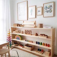 Beautiful Montessori playroom / workspace at home. Beautiful Montessori playroom / workspace at home Playroom Montessori, Montessori Baby, Waldorf Playroom, Waldorf Toys, Toy Rooms, Kids Bedroom, Bedroom Decor, Bedroom Ideas, Baby Room