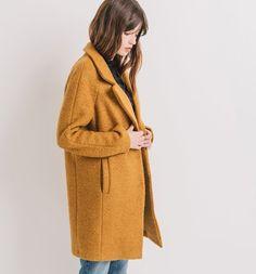 Manteau en laine mélangée ocre - Promod Plus