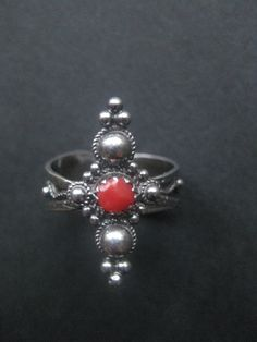 Vintage sterling silver ring, red coral Berber ring, Tuareg Jewelry, Tribal ring, Gothic ring,. $56.00, via Etsy.